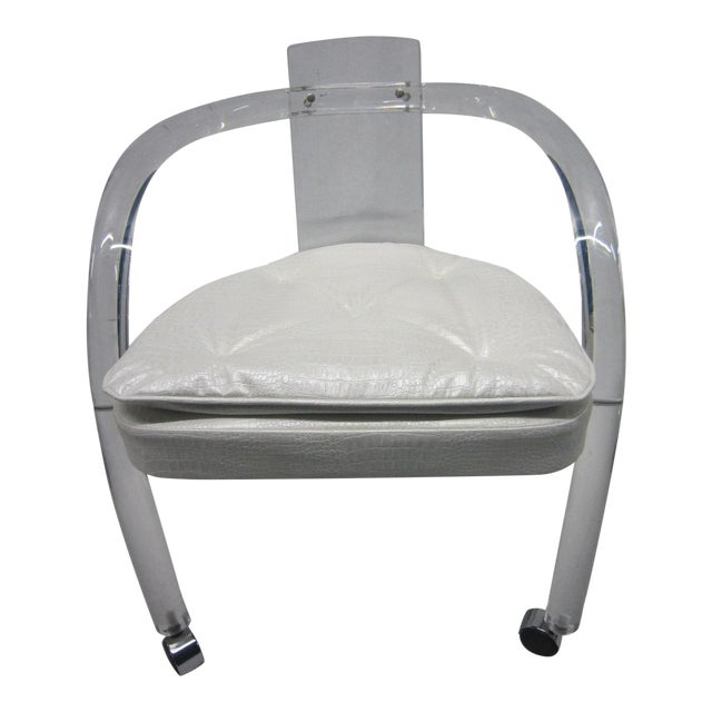 Vintage White Upholstery Lucite Chair - Image 1 of 7
