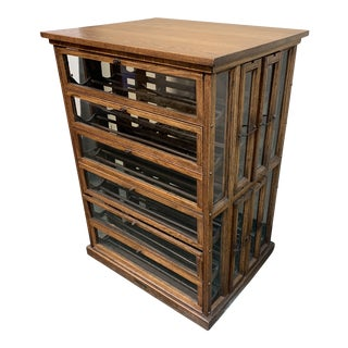 Early-20th Century Oak + Glass Ribbon Cabinet Wine Storage For Sale