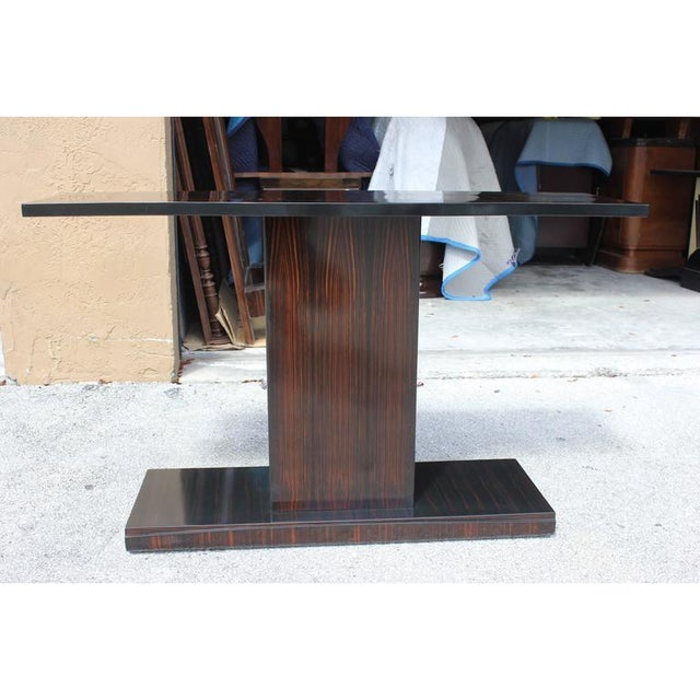 1940s Vintage Art Deco Macassar French Ebony Console Table For Sale - Image 4 of 12
