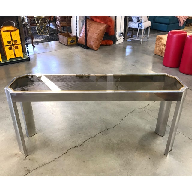 Brass 1970s Chrome Brass and Smoked Glass Baughman Style Console Table For Sale - Image 7 of 7