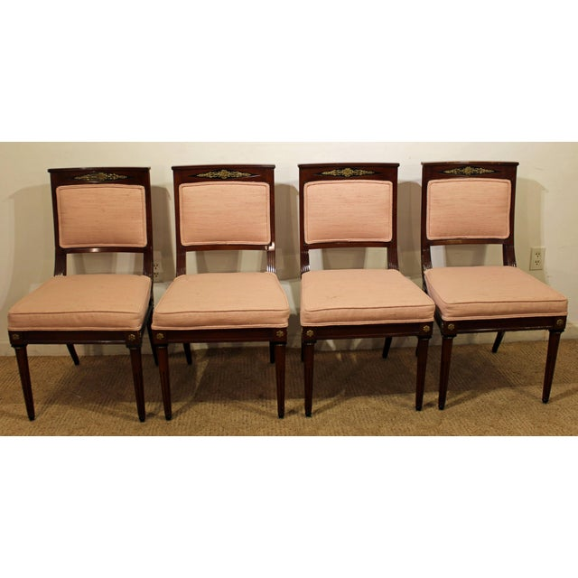 French Set of 4 French Regency Mahogany Ormolu Carved Dining Chairs For Sale - Image 3 of 11
