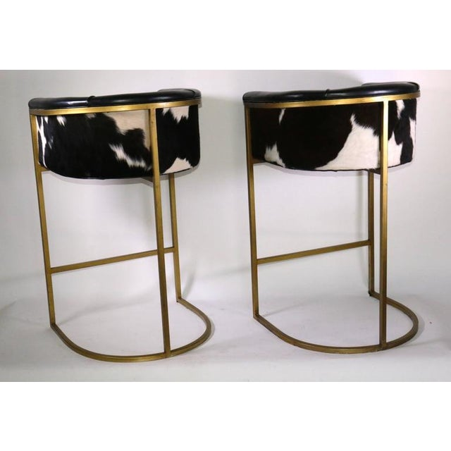 Bauhaus Modern Brass & Leather Stools - a Pair - Image 2 of 9