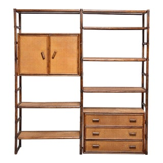 French Mid Century Bamboo Rattan Etagere or Wall Unit For Sale