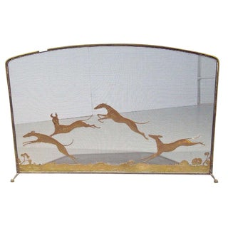 Vintage Bronze Monumental Firescreen Signed Oscar Bach Depicting Running Hounds For Sale