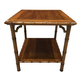 Chinoiserie Faux Bamboo Tiered End Table With Fretwork For Sale