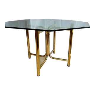 Vintage Hollywood Regency Brass and Glass Octagonal Dining Table For Sale