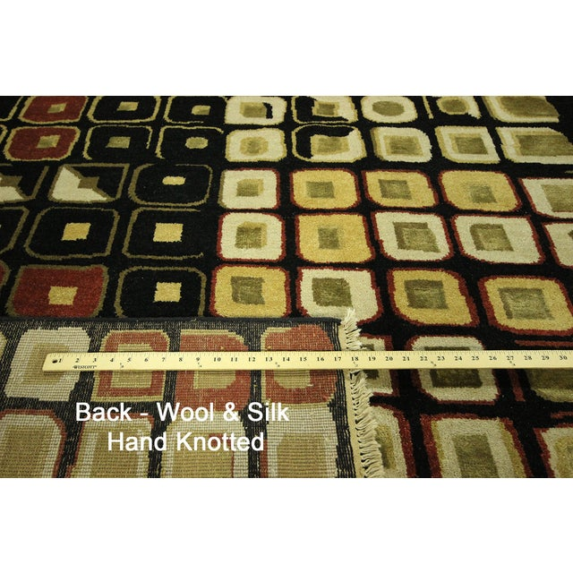 New Black Modern Wool & Silk Ikat Rug - 8'x10' - Image 10 of 10