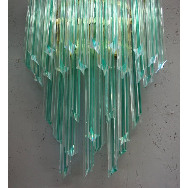 Vintage Italian wall lights with hand blown aquamarine Murano glass crystals cut into four points in Quadriedri technique,...
