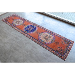 """Oushak Runner Rug Turkish Hand Knotted Distressed Hallway Rug - 3'1"""" X 12'7"""" Preview"""