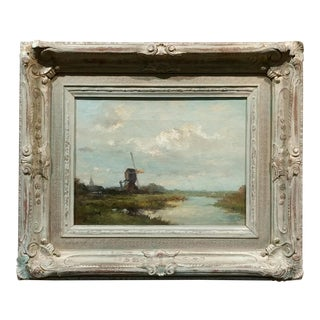 19th Century Dutch Windmill Landscape Oil Painting