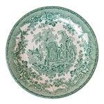 Buffalo China Green & White Transferware Plate