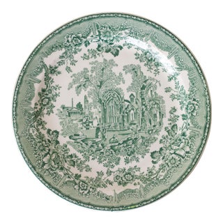 Buffalo China Green & White Transferware Plate