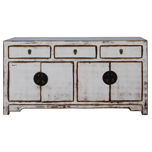 Chinese Distressed Rustic Off White Sideboard Cabinet For Sale