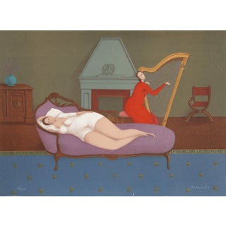Branko Bahunek - Lounging With Harp Lithograph
