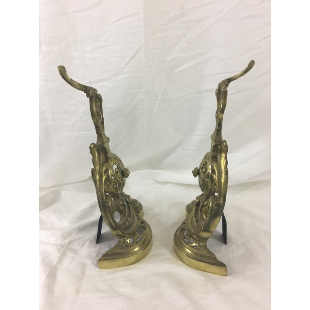19th Century French Napoleon III Bronze Andirons - a Pair For Sale - Image 6 of 10