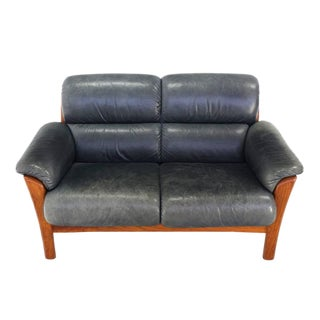 Leather and Solid Teak Mid-Century Modern Danish Loveseat