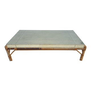 Sarreid Ltd Brass Clad and Rattan Base Rectangular Coffee Table For Sale