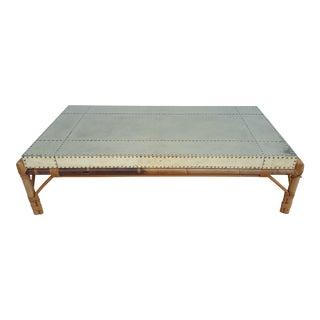 Sarreid Ltd Brass Clad and Rattan Base Rectangular Coffee Table