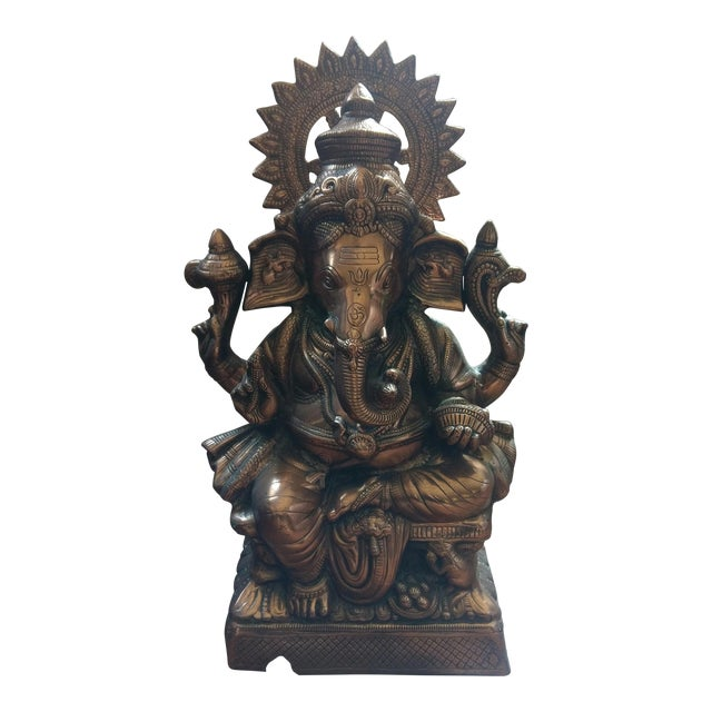 Gorgeous Bronzed All Metal Lord Ganesh Statue - Image 1 of 7