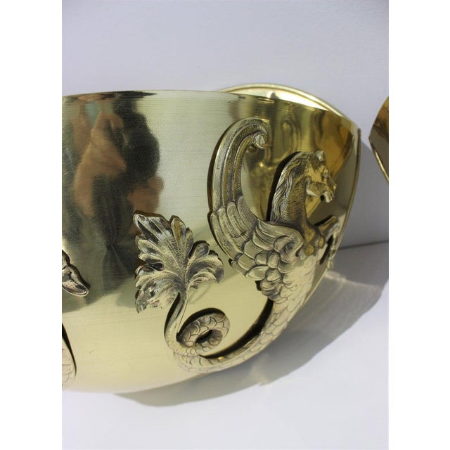 Vintage 1920s Wall Mounted Cachepots Brass Hippocampus Myth Sea-Horse - a Pair For Sale - Image 4 of 13