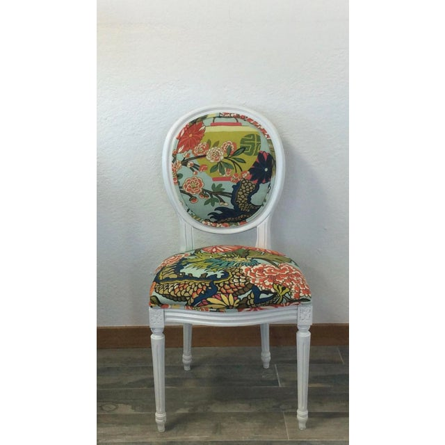 Asian Louis XV Style White Round Back Side Chair- Schumacher Chiang Mai Dragon Fabric For Sale - Image 3 of 3