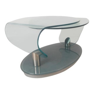 Mid-Century Modern Free Form Swivel Glass Top Coffee Table For Sale