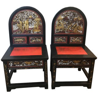 Early 20th Century Vintage Chinese Ancestral Chairs- A Pair For Sale