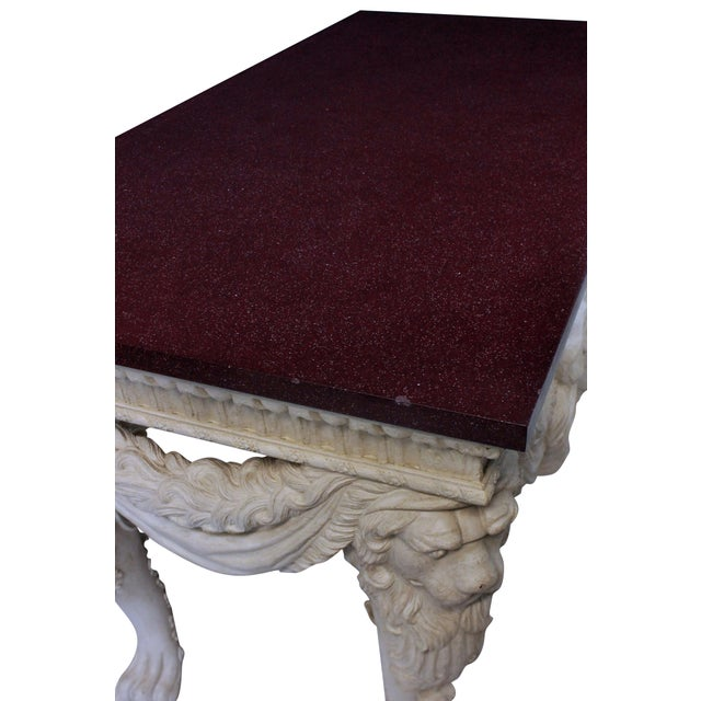 A Large Country House Console Table With a Solid Porphyry Top For Sale - Image 4 of 8