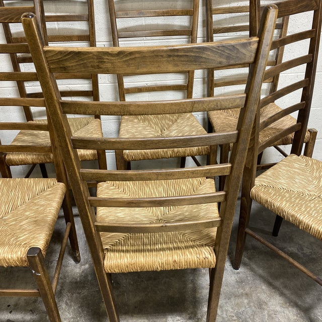 Mid Century Italian Gio Ponte Style Ladder Back Chairs - Set of 8 For Sale - Image 4 of 13