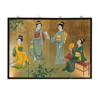 Oriental Japanese Kimono Dress Ladies Wall Screen Panel Set For Sale