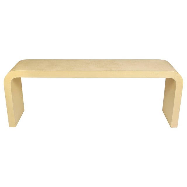 """Mid 20th Century Modern Karl Springer Style Linen Wrap Console """"Waterfall"""" For Sale - Image 5 of 5"""
