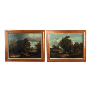 Pair of English Landscape Paintings, Oil on Canvas For Sale