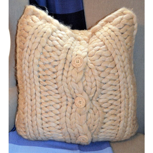 Ugg Oversized Cable Knit Oatmeal Pillow For Sale - Image 5 of 6