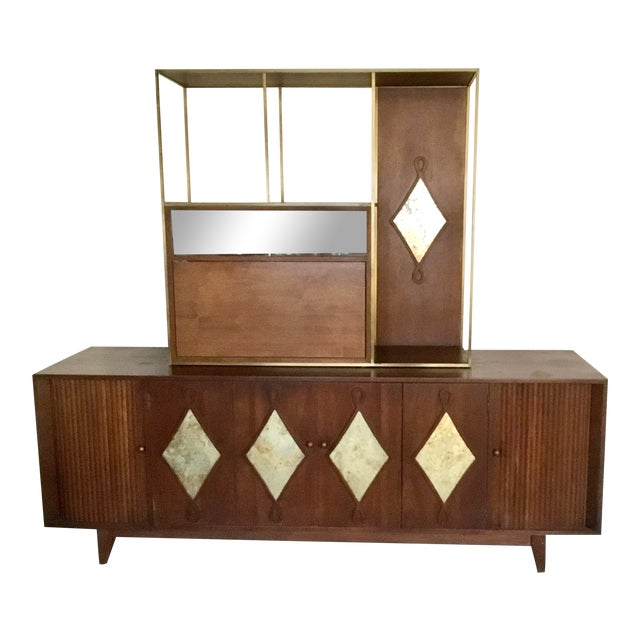 1960s Mid-Century Living Room Credenza With Bar For Sale