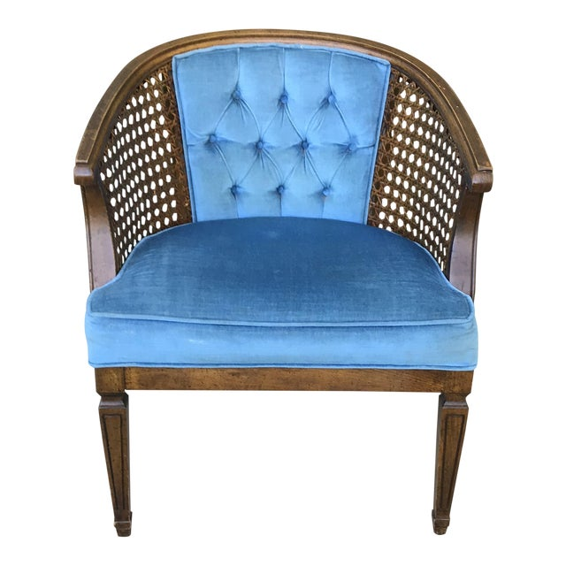 Astounding Mid Century Blue Velvet Tufted Back Cane Barrel Chair Alphanode Cool Chair Designs And Ideas Alphanodeonline