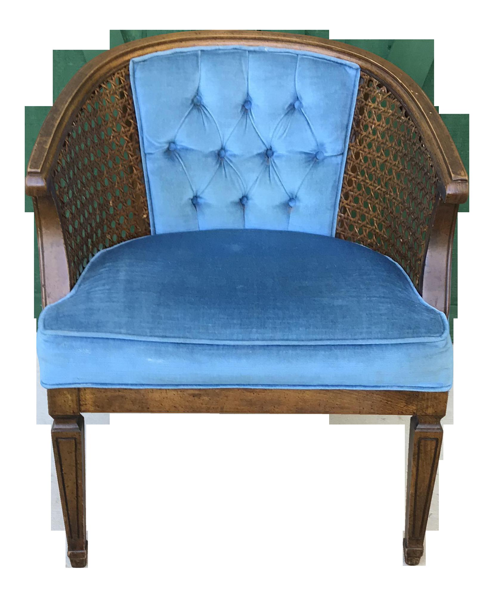 Mid Century Blue Velvet Tufted Back Cane Barrel Chair