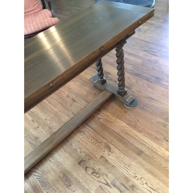 Wood Ethan Allen Jacobean Barley Twist Expanding Banquet Dining Room Trestle Table For Sale - Image 7 of 9