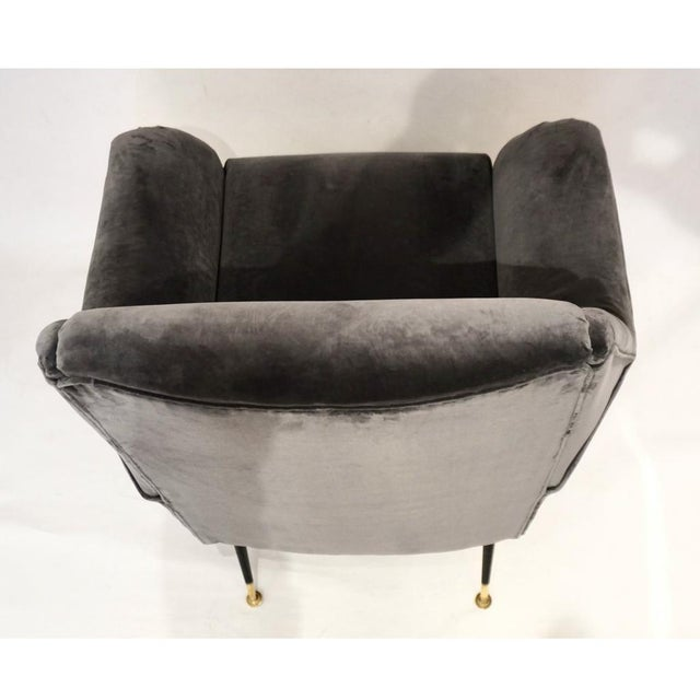 1950s Gigi Radice for Minotti Italian Vintage Gray Mohair Armchairs - a Pair For Sale In New York - Image 6 of 9