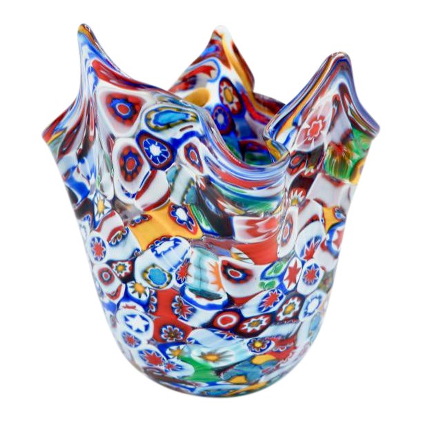 Vintage Murano Millefiori Handkerchief Vase For Sale