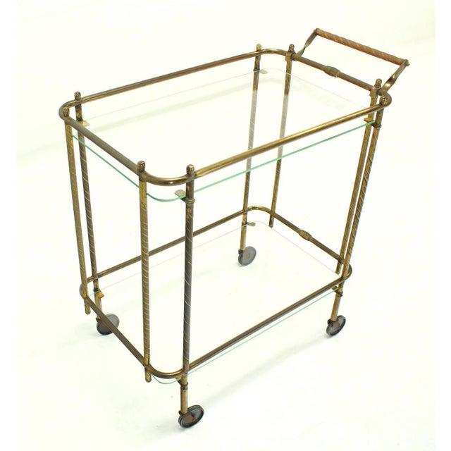 Brass Tube Frame and Glass Rectangular Tea Bar Cart For Sale In New York - Image 6 of 8