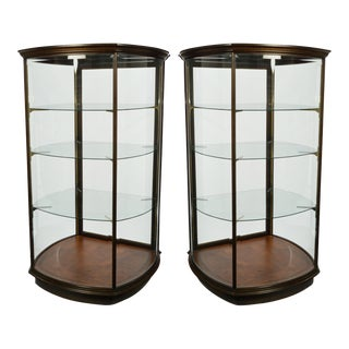 Pair Custom-Made Curved and Beveled Glass Vitrine, Display Cabinet For Sale