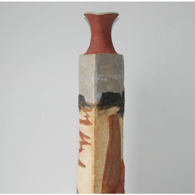Modern Circa 1980 R. Miller Slab Built Relief Stoneware Vase, For Sale - Image 3 of 6