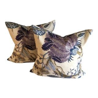 Contemporary Schumacher Purple & Blue Pillows - A Pair For Sale