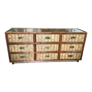 Palm Beach Regency Rattan Triple Dresser For Sale