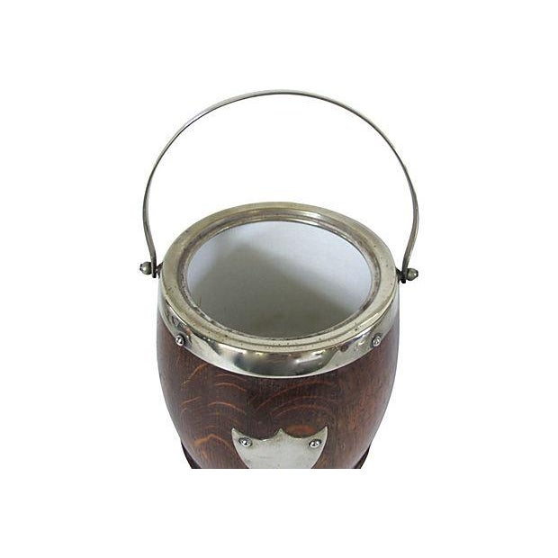 Vintage English Oak And Silverplate Ice Bucket - Image 2 of 2