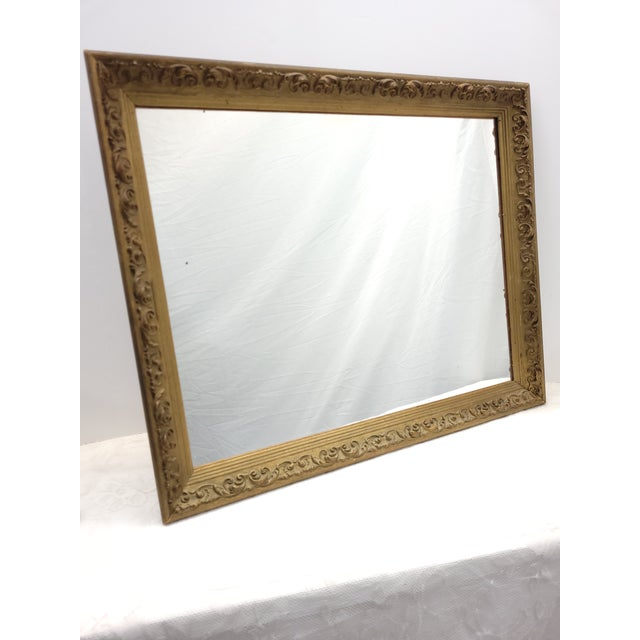 Vintage 1960s Gesso Gold Wood Square Wall Mirror For Sale - Image 6 of 10