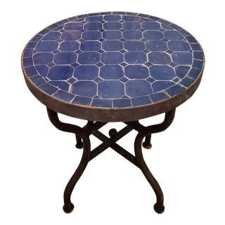 All Blue Moroccan Mosaic Side Table For Sale