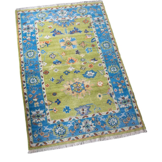 Blue Woven Hand Knotted Rug-4' x 6' For Sale