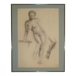 Nude Female Charcoal Portrait Studio Sketch Drawing 1910-1920s For Sale