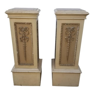 1950s Neoclassical Square Wood Pedestal - a Pair